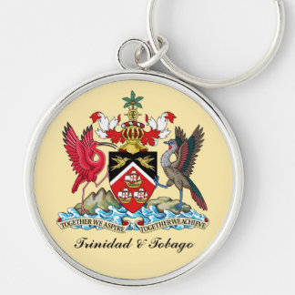 Trinidad and Tobago Coat Of Arms Silver-Colored Round Keychain