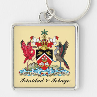 Trinidad and Tobago Coat Of Arms Silver-Colored Square Keychain