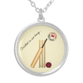 Trinidad And Tobago Cricket Round Pendant Necklace