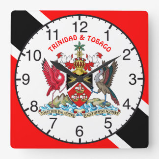 Trinidad And Tobago Flag and Coat Of Arms Wall Clock
