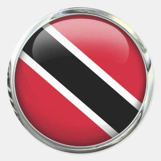 Trinidad And Tobago Flag Glass Ball Round Sticker