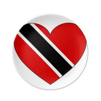 Trinidad and Tobago Flag Heart Plate