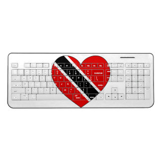 Trinidad and Tobago Flag Heart Wireless Keyboard