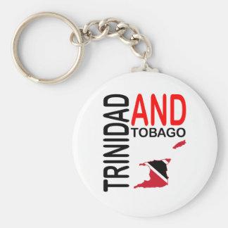 Trinidad and Tobago Flag Map Basic Round Button Keychain
