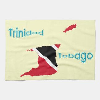 Trinidad and Tobago Flag Map Kitchen Towel