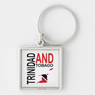 Trinidad and Tobago Flag Map Silver-Colored Square Keychain