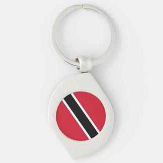 Trinidad and Tobago Flag Silver-Colored Swirl Keychain