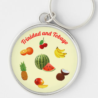 Trinidad and Tobago Fruits Silver-Colored Round Keychain