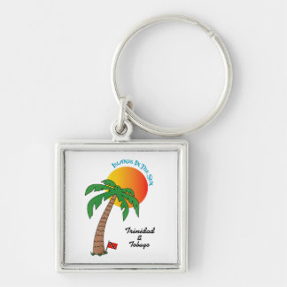 Trinidad and Tobago Islands In The Sun Silver-Colored Square Keychain