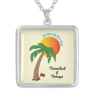 Trinidad and Tobago Islands In The Sun Square Pendant Necklace