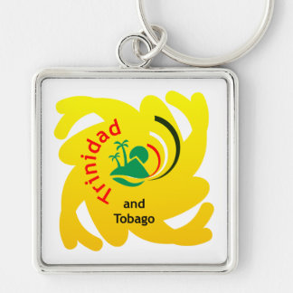 Trinidad and Tobago Islands Silver-Colored Square Keychain