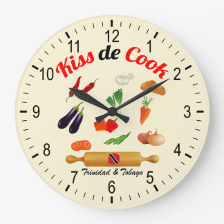 Trinidad and Tobago Kiss The Cook Food Large Clock