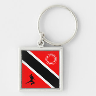 Trinidad and Tobago National Flag Silver-Colored Square Keychain