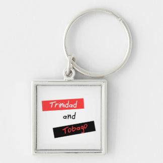Trinidad and Tobago Silver-Colored Square Keychain
