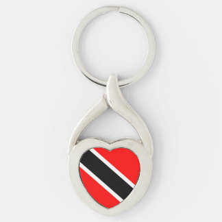 Trinidad and Tobago Silver-Colored Twisted Heart Keychain