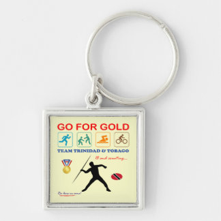 Trinidad and Tobago Sports Silver-Colored Square Keychain