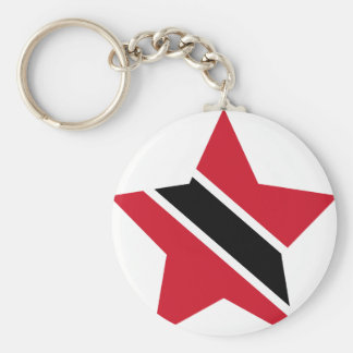 Trinidad+and+Tobago Star Basic Round Button Keychain