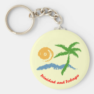 Trinidad and Tobago Sun Sea And Coconut Tree Basic Round Button Keychain