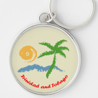 Trinidad and Tobago Sun Sea And Coconut Tree Silver-Colored Round Keychain