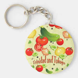 Trinidad and Tobago Vegetables Basic Round Button Keychain