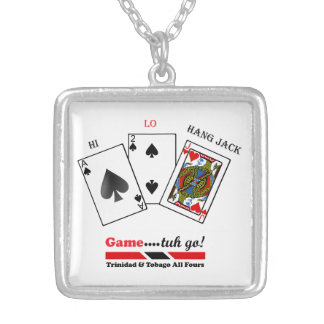 Trinidad & Tobago All Fours Game Square Pendant Necklace