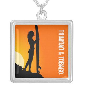 Trinidad & Tobago Beach Surfer Square Pendant Necklace