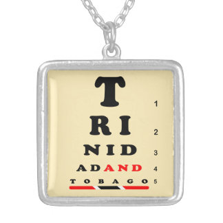 Trinidad & Tobago Eye-Chart Square Pendant Necklace