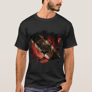 Trinidad & Tobago Flag & African Lion Picture T-Shirt