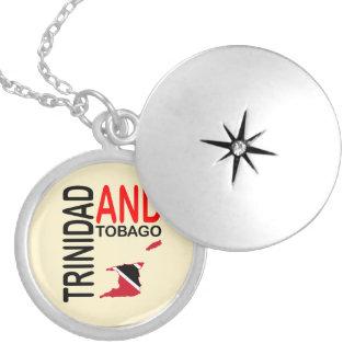 Trinidad & Tobago Flag Map Round Locket Necklace