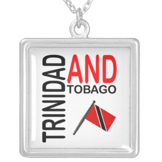 Trinidad & Tobago Flag Square Pendant Necklace