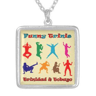 Trinidad & Tobago Funny People Square Pendant Necklace