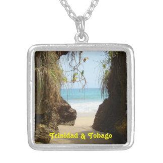 Trinidad & Tobago Madamas Beach Square Pendant Necklace