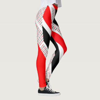 TRINIDAD & TOBAGO RED WHITE & BLACK T&T PATRIOT LEGGINGS