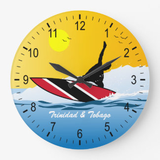 Trinidad & Tobago Surfer Large Clock