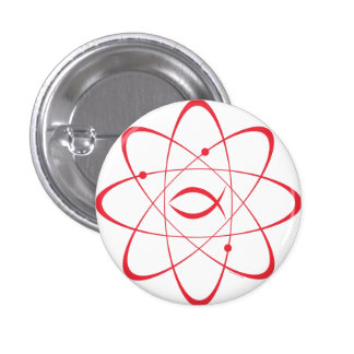 """""""Trinity Atom"""" - a meet-up of science and faith 1 Inch Round Button"""