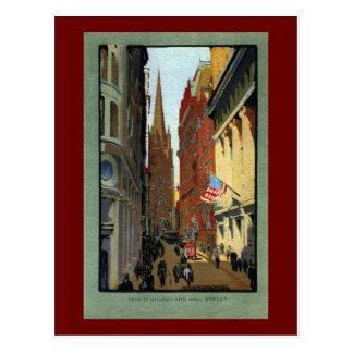 Trinity Church and Wall Street Postcard