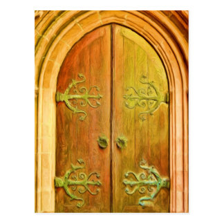 Trinity Church Door NYC Postcard
