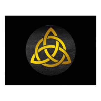 Trinity Knot Celtic Black Gold Postcard