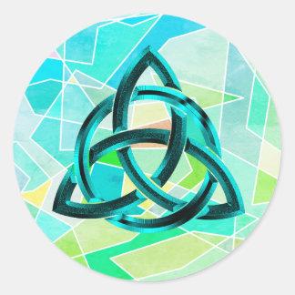 Trinity Knot Celtic Geometric Blue Metal Glitter Classic Round Sticker