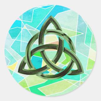 Trinity Knot Celtic Geometric Green Metal Glitter Classic Round Sticker