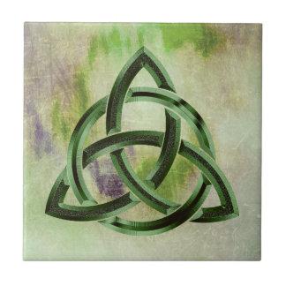 Trinity Knot Celtic Green Grunge Vintage Ceramic Tile