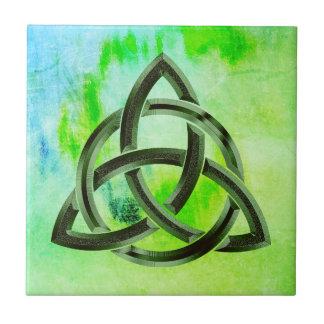 Trinity Knot Celtic Green Grunge Vintage Tile