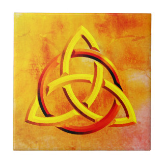 Trinity Knot Celtic Orange Vintage Fire Tile