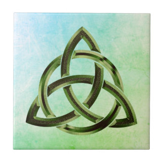 Trinity Knot Celtic Watercolor Green Metal Circled Tile