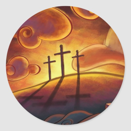 Trinity - Triple Cross on Hill Sunset Stickers
