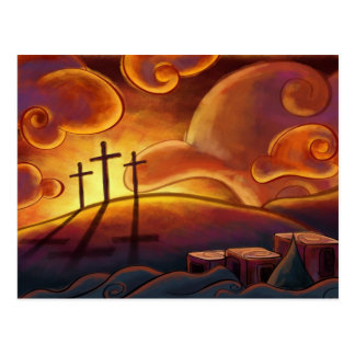 Trinity - Triple Cross on sunset Postcard