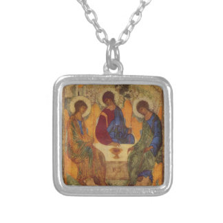 Trinity with Angel Wings Square Pendant Necklace