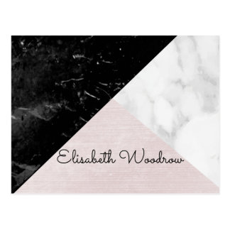 Trio Black, White Marble Pink Silk Geometric Postcard
