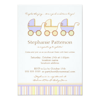 Trio Carriage Triplet Girl Boys Shower Invitation