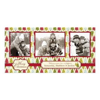 Trio de carte photo d'arbre de Noël Photocarte Personnalisée